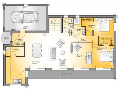 mod le et plan de maison bioclima 152 par le constructeur. Black Bedroom Furniture Sets. Home Design Ideas