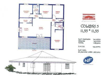 Mod le et plan de maison colibri 5 par le constructeur for Plan maison creole traditionnelle