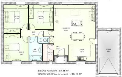 mod le et plan de maison liberty plain pied 83 par le constructeur marc junior. Black Bedroom Furniture Sets. Home Design Ideas
