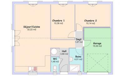 Mod le et plan de maison littoral t3 par le constructeur for Plan maison t3