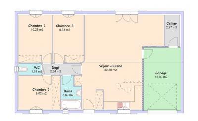 Mod le et plan de maison littoral t4 par le constructeur for Plan maison t4