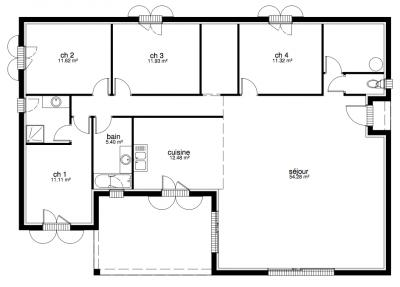 plan maison villa prisme. Black Bedroom Furniture Sets. Home Design Ideas