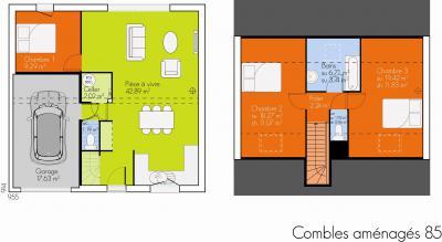 Modèle et plan de maison Open Combles Amenagés par le constructeur ...
