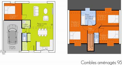 ... Modèle Et Plan De Maison : Open Combles Amenagés   95.00 M²