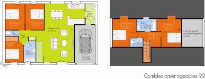 mod le et plan de maison open plain pied combles par le constructeur marc junior. Black Bedroom Furniture Sets. Home Design Ideas