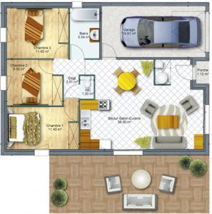 Mod le et plan de maison sherzo avec entr e sur pignon par for Constructeur maison sur plan