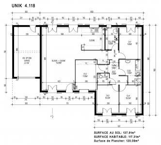 Modèle et plan de maison  UNIK 4.118 , 118.00 m²