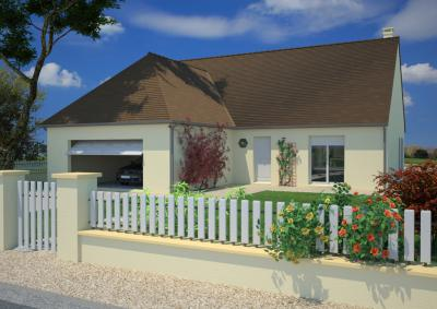 mod le et plan de maison villageoise 100 lg par le constructeur maisons france confort. Black Bedroom Furniture Sets. Home Design Ideas