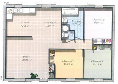 Modèle et plan de maison Villageoise 80 par le constructeur MAISONS ...